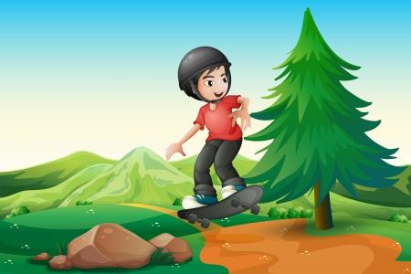 hilltop: Illustration of a young boy skateboarding at the hilltop