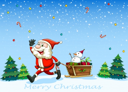 Illustration of a happy Santa Claus pulling the sleigh with a snowman Vector