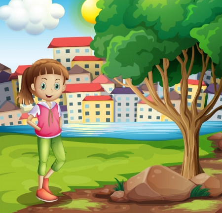 Illustration of a young girl at the riverbank near the tree Vector