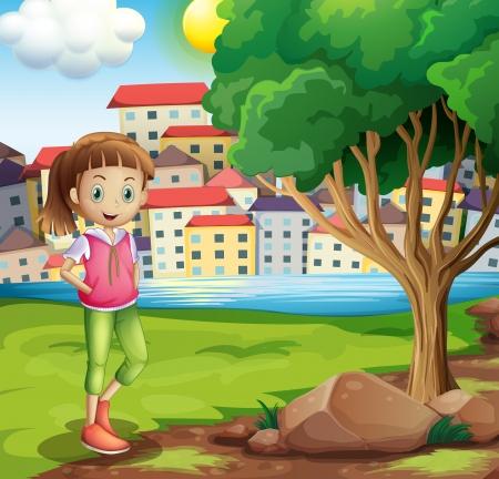 강둑: Illustration of a young girl at the riverbank near the tree