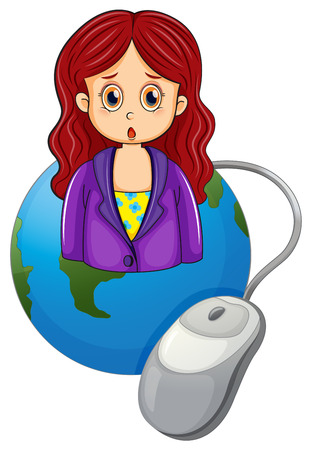 blazer: Illustration of a globe with a woman wearing a violet blazer on a white background Illustration