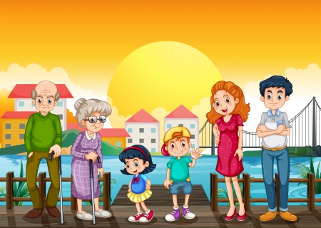 Illustration of a family at the port Vector