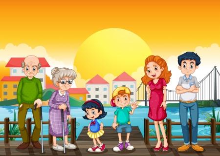 harbour: Illustrazione di una famiglia nel porto Vettoriali
