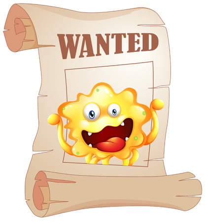 Illustration of a wanted monster in a poster on a white background Vector