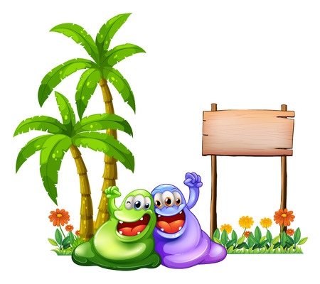 friends cartoon: Illustration of the two monsters having fun in front of the empty wooden signboard on a white background Illustration