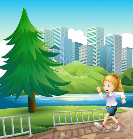 강둑: 키가 큰 소나무와 강둑에서 실행하는 여자의 그림 일러스트