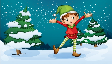 christmas party people: Illustration of a cute dwarf near the pine trees Illustration
