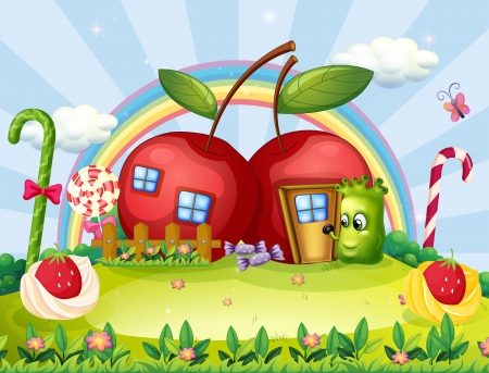 Illustration of a monster going to the apple house Vector