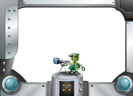 Illustration of a metallic frame with a robot and a telescope Vector