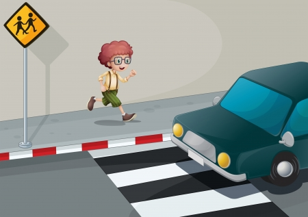 Illustration of a boy running near the pedestrian lane Vector