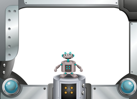 Illustration of a metallic frame with a robot standing in the middle Vector