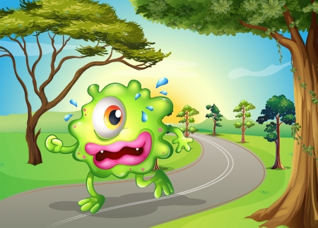 sweaty: Illustration of a monster jogging at the road