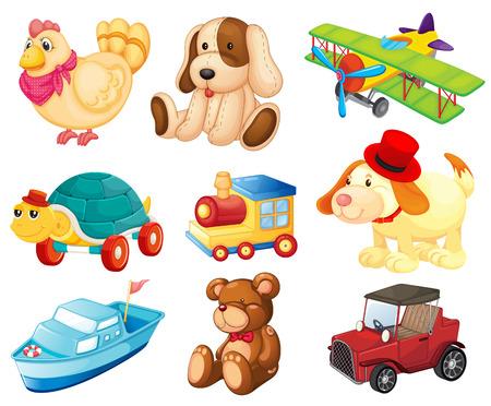Illustratie van de verschillende speelgoed op een witte achtergrond Stock Illustratie