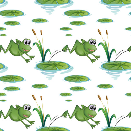 Illustration of a seamless design with frogs at the pond on a white background Vector