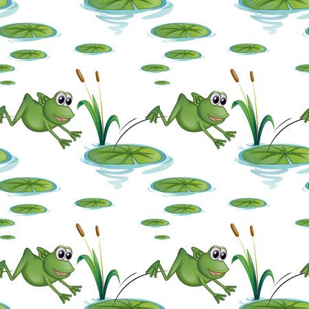 dise�os: Ilustraci�n de un dise�o sin costuras con las ranas en el estanque sobre un fondo blanco