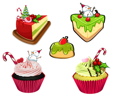 Illustration of the baked desserts for christmas on a white background Vector