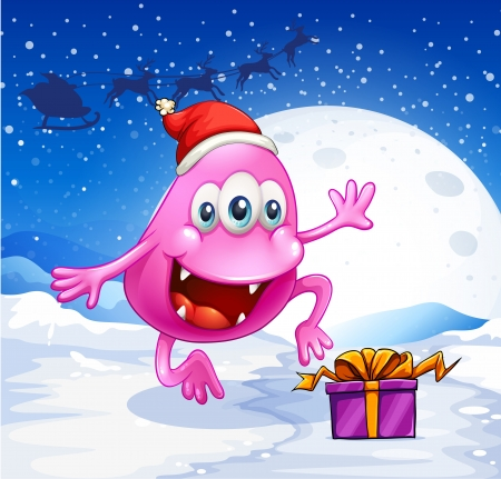 beanie: Illustration of a happy pink beanie monster wearing Santas hat