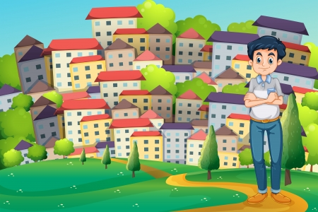 Illustration of a serious man standing at the hilltop across the village Vector