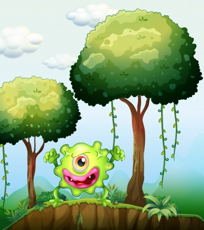 Illustration of a playful green monster at the cliff in the forest Vector