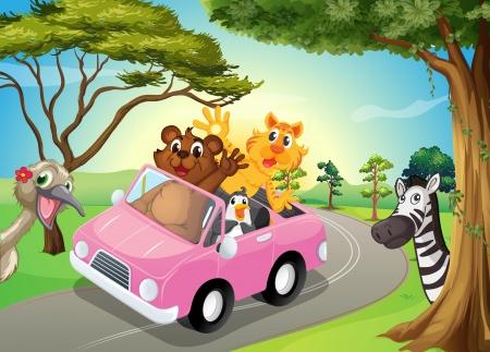 Hayvanlarla pembe bir arabanın İllüstrasyon