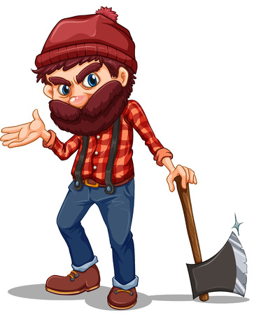 Illustration of a lumberjack holding a sharp axe on a white background Vector