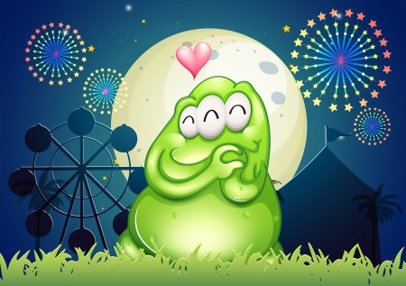 inlove: Illustration of a park with an in-love green monster Illustration