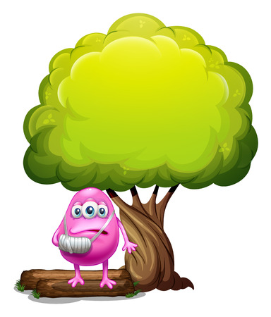 beanie: Illustration of an injured pink beanie monster standing under the giant tree on a white background