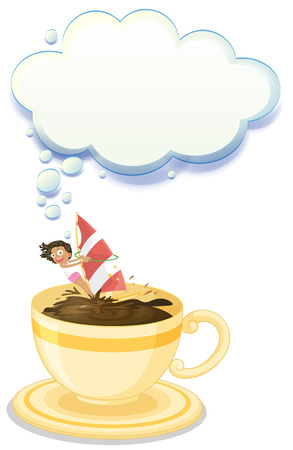 breakable: Illustration of a big cup of choco drink with a girl playing on a white background