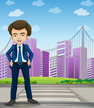 formal attire: Illustration of a handsome businessman standing at the pedestrian lane