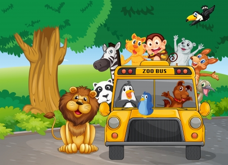 illustration zoo: Illustration of a zoo bus full of animals