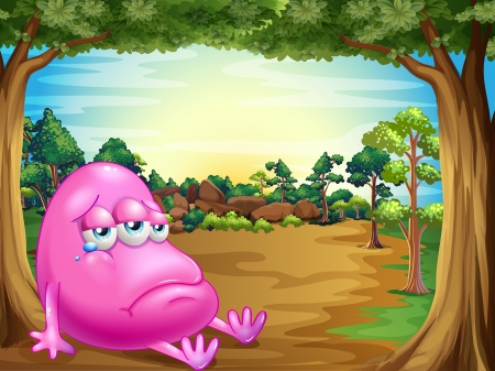 beanie: Illustration of a forest with a sad fat beanie monster