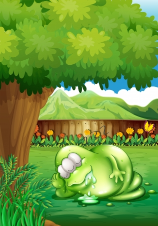 salivating: Illustration of a fat monster sleeping under the tree at the yard Illustration