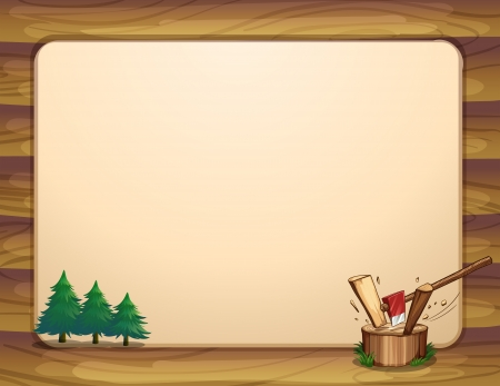 Illustration of a template with pine trees and chopped woods Vector