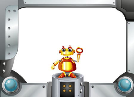 Illustration of a colorful robot in the middle of the empty frame Vector