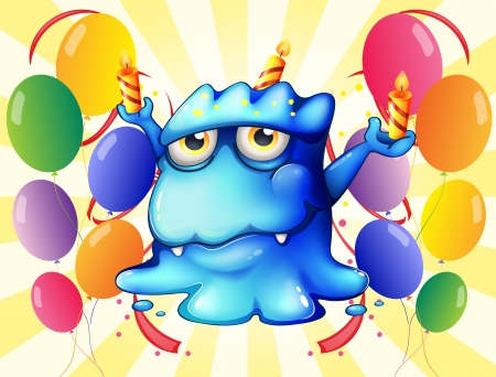 Illustration of a blue monster balancing the candles in the middle of the balloons on a white background Illustration