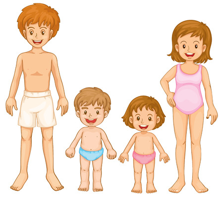 Illustration of a family in their swimming attire on a white background Vector
