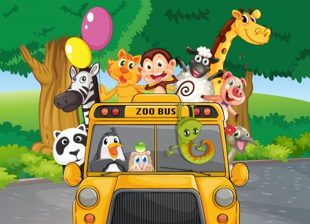 Illustration of a zoo bus with animals Vector