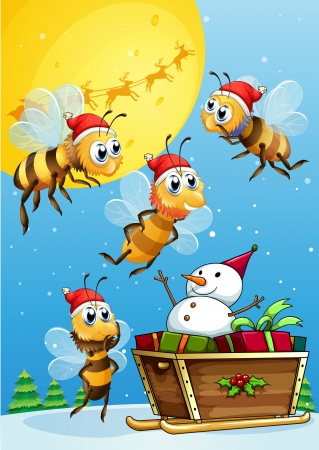 Illustration of the bees watching the snowman riding on a sleigh Vector