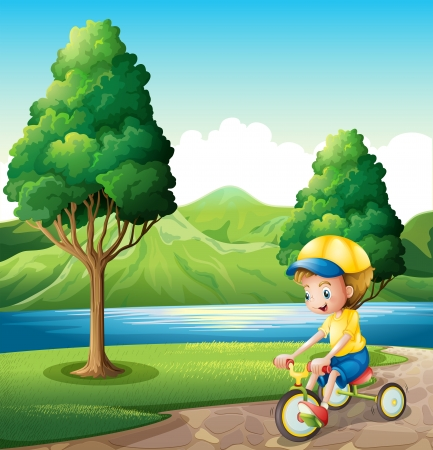 Illustration of a boy playing with his small bike Vector