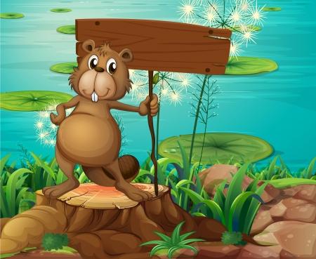 castor: Ilustración de un castor por encima del tronco que sostiene un letrero vacío Vectores