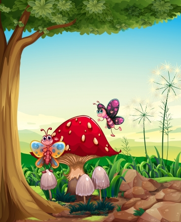 tall tree: Illustration of a big mushroom near the tree with butterflies