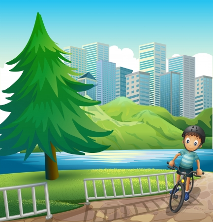 establishments: Illustration of a boy biking across the tall buildings near the river Illustration