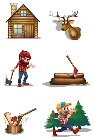 Illustration of a life of a lumberjack on a white background Vector