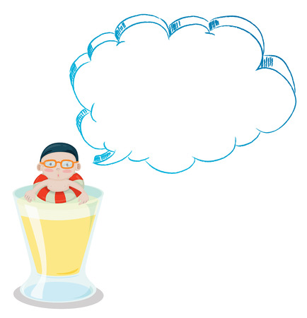 Illustration of a big cup with a young boy having an empty callout on a white background Vector