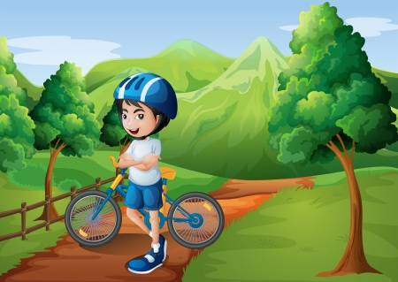 Illustration of a boy standing in the middle of the pathway with his bike Vector
