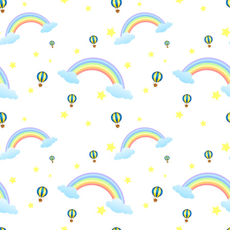 Illustration of a seamless design with rainbows and floating balloons Vector