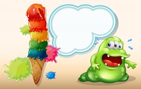 sweaty: Illustration of a sweaty fat monster near the giant icecream