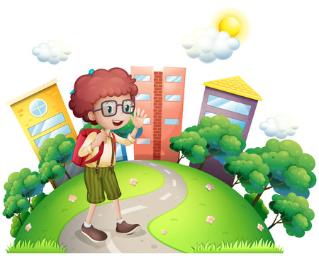 boy with glasses: Illustration of a schoolboy waving while walking at the road on a white background