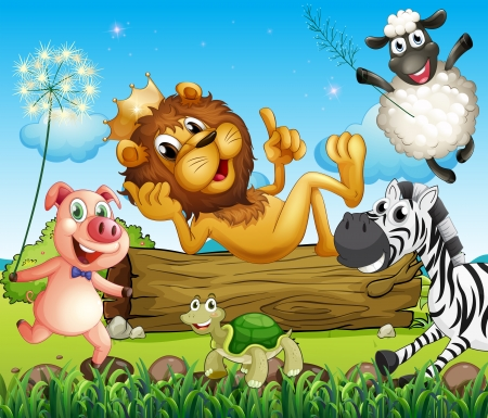 Illustration of a king lion surrounded with animals Vector