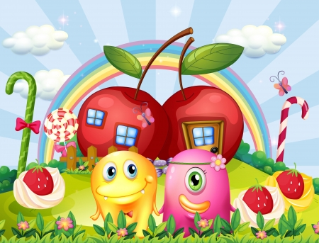 Illustration of the couple monsters at the hilltop with a rainbow and apple houses Vector
